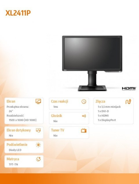 ZOWIE Monitor 24 XL2411P LED 1ms/12MLN:1/HDMI/GAMING