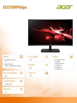 Acer Monitor 27 cali ED270RPbiipx