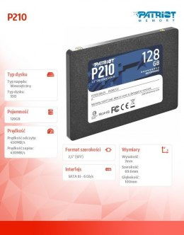 Patriot Dysk SSD 128GB P210 450/430 MB/s SATA III 2.5